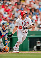 20 May 2018: Washington Nationals first baseman Matt Adams in action against the Los Angeles Dodgers at Nationals Park in Washington, DC. The Dodgers defeated the Nationals 7-2, sweeping their 3-game series. Mandatory Credit: Ed Wolfstein Photo *** RAW (NEF) Image File Available ***