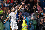 Karim Benzema of Real Madrid celebrates during their La Liga match between Real Madrid and Athletic Club at the Santiago Bernabeu Stadium on 23 October 2016 in Madrid, Spain. Photo by Diego Gonzalez Souto / Power Sport Images