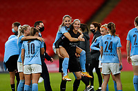 1st November 2020; Wembley Stadium, London, England; Womens FA Cup Final Football, Everton Womens versus Manchester City Womens; Janine Beckie of Manchester City Women jumps on the back of Goalkeeper Karen Bardsley of Manchester City Women celebrating