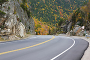 "Route 302 in the area known as ""The Gate"" in the White Mountains, New Hampshire during the autumn months. At this point, Route 302 enters into Crawford Notch State Park."