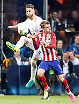 Real Madrid's Sergio Ramos (l) and Atletico de Madrid's Antoine Griezmann during UEFA Champions League 2015/2016 Final match.May 28,2016. (ALTERPHOTOS/Acero)