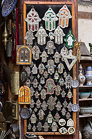 Fes, Morocco.  Hand of Fatima for Sale.  A Protective Talisman for Personal Jewelry or House Decoration.