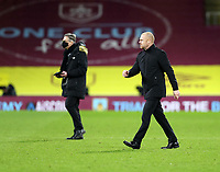 17th February 2021; Turf Moor, Burnley, Lanchashire, England; English Premier League Football, Burnley versus Fulham; Burnley Manager Sean Dyche walks across the Turf Moor pitch toward the tunnel after the match ends in a 1-1 draw
