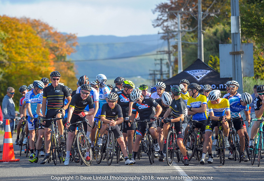 Masters men prepare to race on day two of the 2018 NZ Age Group Road Cycling Championships in Carterton, New Zealand on Saturday, 21 April 2018. Photo: Dave Lintott / lintottphoto.co.nz