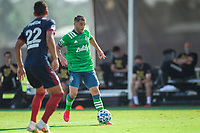 LAKE BUENA VISTA, FL - JULY 14: Nicolas Lodeiro #10 of the Seattle Sounders dribbles the ball during a game between Seattle Sounders FC and Chicago Fire at Wide World of Sports on July 14, 2020 in Lake Buena Vista, Florida.