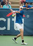 John Isner (USA) defeats Alex Kuznetsov (USA) 7-6(2), 7-6(4) at the CitiOpen in Washington, D.C., Washington, D.C.  District of Columbia on July 31, 2013.