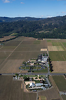 aerial photograph of the Robert Mondavi and Nickel & Nickel Wineries in Oakville, California  towards the Mayacamas Mountains