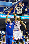 Houston Baptist Huskies forward Art Bernardi (4) and Texas-Arlington Mavericks forward Greg Gainey (21) in action during the game between the Houston Baptist Huskies and the Texas-Arlington Mavericks at the College Park Center arena in Arlington, Texas. UTA defeats Houston Baptist 81 to 47...