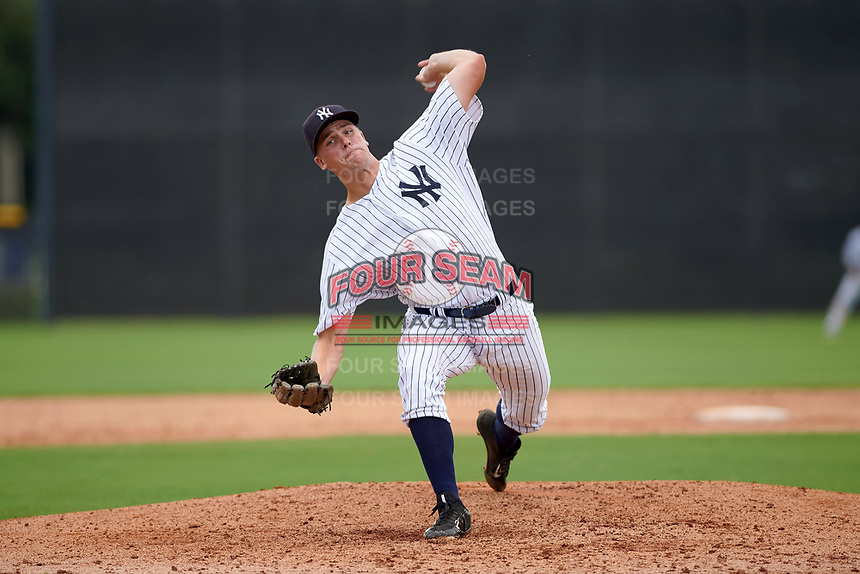 GCL Yankees East relief pitcher Woody Bryson (62) delivers a pitch during the first game of a doubleheader against the GCL Yankees West on July 19, 2017 at the Yankees Minor League Complex in Tampa, Florida.  GCL Yankees West defeated the GCL Yankees East 11-2.  (Mike Janes/Four Seam Images)