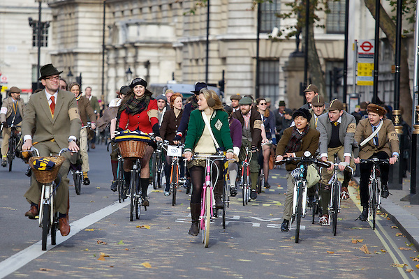 Gabilicious and Amber Atherton from Made in Chelsea cycling on The Tweed Run, London