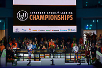 SPEEDSKATING: HEERENVEEN: 10-01-2020, IJsstadion Thialf, European Championship distances, Podium 1500m Ladies, Evgeniia Lalenkova (RUS), Ireen Wüst (NED), Olga Fatkulina (RUS), ©foto Martin de Jong
