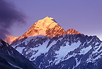 New Zealand, South Island, Mt. Cook NP, Mt. Cook at Sunset