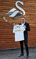 Carlos Carvalhal poses with a home shirt after being unveiled as New Swansea City Manager at The Fairwood Training Ground in Swansea, Wales, UK. Thursday 28 December 2017