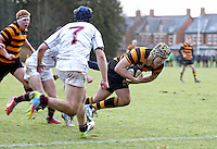 RBAI vs R S ARMAGH | Saturday 21st February 2015<br /> <br /> Lewis McNamara scores the opening try during 2015 Ulster Schools Cup Quarter-Final between RBAI and Royal School Armagh at Osborne Park, Belfast, Northern Ireland.<br /> <br /> Picture credit: John Dickson / DICKSONDIGITAL