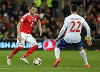 (L-R) Chris Gunter of Wales against Ivan Obradivic of Serbia during the 2018 FIFA World Cup Qualifier between Wales and Serbia at the Cardiff City Stadium, Wales, UK. Saturday 12 November 2016