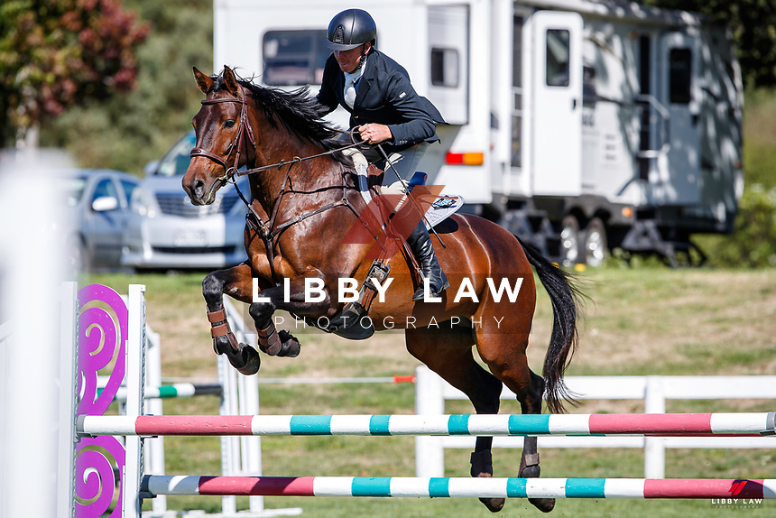 NZL-Jeremy Clarke rides Dynavyte Cancion HSH. Final-1st. Class 25: Horse 1.10m Ranking Class. 2021 NZL-Easter Jumping Festival presented by McIntosh Global Equestrian and Equestrian Entries. NEC Taupo. Saturday 3 April. Copyright Photo: Libby Law Photography