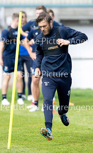 St Johnstone Training….09.08.18<br />Murray Davidson pictured during training at McDiarmid Park ahead of Sunday's game against Hibs<br />Picture by Graeme Hart.<br />Copyright Perthshire Picture Agency<br />Tel: 01738 623350  Mobile: 07990 594431