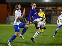 20180126 - OOSTAKKER , BELGIUM : Anderlecht's Elke Van Gorp (r) pictured in a duel with Gent's Jody Vangheluwe (left) during the quarter final of Belgian cup 2018 , a womensoccer game between KAA Gent Ladies and RSC Anderlecht , at the PGB stadion in Oostakker , friday 27 th January 2018 . PHOTO SPORTPIX.BE   DAVID CATRY