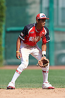 Infielder Oscar Mercado #2 of Gaither High School in Tampa, Florida participates in the Under Armour All-American Game powered by Baseball Factory at Wrigley Field on August 18, 2012 in Chicago, Illinois.  (Mike Janes/Four Seam Images)