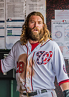 29 April 2017: Washington Nationals left fielder Jayson Werth stands in the dugout during a game against the New York Mets at Nationals Park in Washington, DC. The Mets defeated the Nationals 5-3 to take the second game of their 3-game weekend series. Mandatory Credit: Ed Wolfstein Photo *** RAW (NEF) Image File Available ***