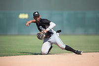 Chicago White Sox shortstop Lency Delgado (12) during an Instructional League game against the Oakland Athletics at Lew Wolff Training Complex on October 5, 2018 in Mesa, Arizona. (Zachary Lucy/Four Seam Images)