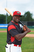 Batavia Muckdogs Lazaro Alonso (19) poses for a photo before a game against the Tri-City ValleyCats on July 15, 2017 at Dwyer Stadium in Batavia, New York.  Tri-City defeated Batavia 5-4.  (Mike Janes/Four Seam Images)