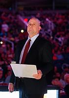 Mar 18, 2019; Phoenix, AZ, USA; Chicago Bulls head coach Jim Boylen prior to the game against the Phoenix Suns at Talking Stick Resort Arena. Mandatory Credit: Mark J. Rebilas-USA TODAY Sports
