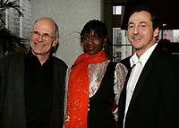 April 3rd 2006, Montreal (QC) CANADA<br /> Robert Favreau, filmmaker (L), Fatou N'Diaye (M) Luc Picard (R) Premiere Un Dimanche a Kigali<br /> Photo : (c) 2006 Pierre Roussel / Images Distribution