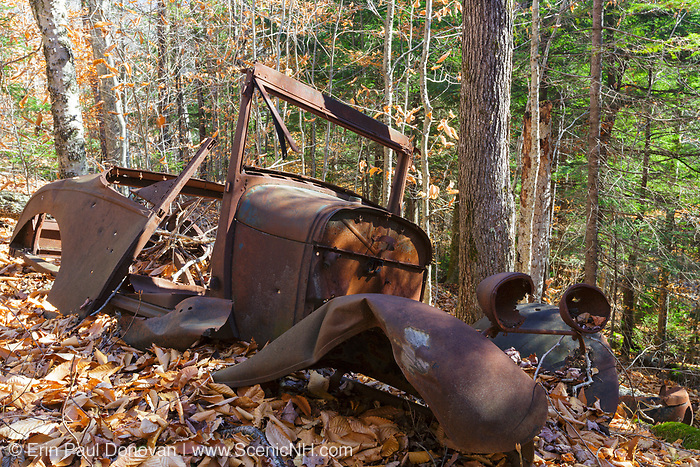 Old rusted car in the Eastman Brook drainage of Thornton, New Hampshire USA. This abandoned vehicle is possibly a late 1920s / early 1930s Ford Model A 2 Door Coupe.