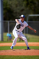 South Dakota State Jackrabbits relief pitcher Bret Barnett (7) during a game against the FIU Panthers on February 23, 2019 at North Charlotte Regional Park in Port Charlotte, Florida.  South Dakota State defeated FIU 4-3.  (Mike Janes/Four Seam Images)