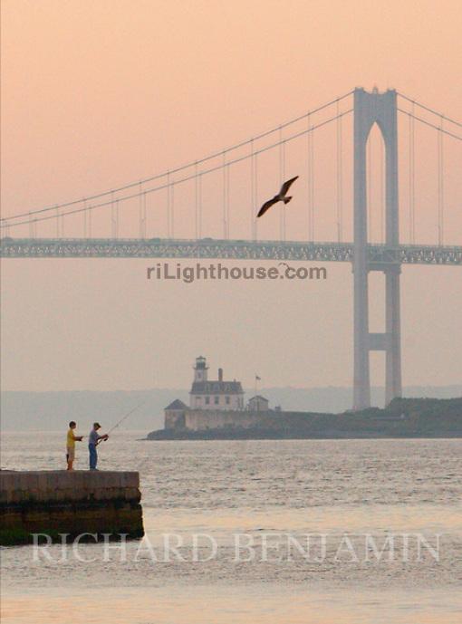 Fishing near Rose Island Light