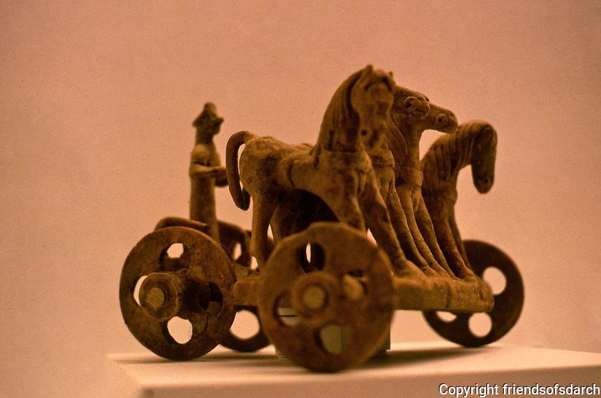 Greek Art:  Early Greek chariot group, terra cotta, Boetia, 600-500 B.C.  A children's toy?  Menil Collection, Houston.