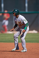 Oakland Athletics Robert Mullen (44) during an instructional league game against the Los Angeles Angels on October 9, 2015 at the Tempe Diablo Stadium Complex in Tempe, Arizona.  (Mike Janes/Four Seam Images)