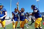 BROOKINGS, SD - APRIL 24: South Dakota State Jackrabbits wide receiver Jaxon Janke #10 celebrates a touchdown by pointing to the stands against the Holy Cross Crusaders at Dana J Dykhouse Stadium on April 24, 2021 in Brookings, South Dakota. (Photo by Dave Eggen/Inertia)