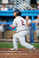 Mahoning Valley Scrappers outfielder Aaron Silga #2 during a NY-Penn League game against the Batavia Muckdogs at Dwyer Stadium on August 21, 2012 in Batavia, New York.  Batavia defeated Mahoning Valley 4-1.  (Mike Janes/Four Seam Images)