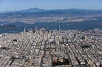 aerial photograph Hayes Valley, Civic Center, Japantown toward Financial District, Oakland, Mount Diablo, San Francisco, California