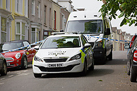 Pictured: Police at the area where a 22 year old woman was attacked in Carlton Terrace, Swansea, Wales, UK. Tuesday 23 April 2019<br /> Re: A 22 year old woman has died after being attacked Carlton Terrace in Swansea at 3:10am.<br /> South Wales Police said a woman had been seriously assaulted and subsequently died.<br /> Armed officers were deployed, along with the police helicopter, and a number of cordons remain in place while officers carry out an investigation.