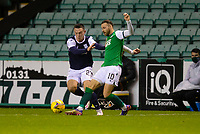 15th November 2020; Easter Road, Edinburgh, Scotland; Scottish League Cup Football, Hibernian versus Dundee FC; Martin Boyle of Hibernian challenges for the ball with Jordan Marshall of Dundee