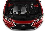 Car Stock 2020 Lexus ES-350 F-Sport 4 Door Sedan Engine  high angle detail view