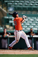Baltimore Orioles left fielder Trevor Craport (59) follows through on a swing during a Florida Instructional League game against the Pittsburgh Pirates on September 22, 2018 at Ed Smith Stadium in Sarasota, Florida.  (Mike Janes/Four Seam Images)