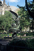 New York, USA. The Peace Fountain in gardens beside St. John the Divine Cathedral on Amsterdam Avenue in Harlem.