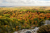 The beautiful scenery of the autumn season seen from Hogback Mountain, Marquette, MI