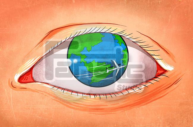 Illustrative image of airplane rotating around eyeball representing world tour