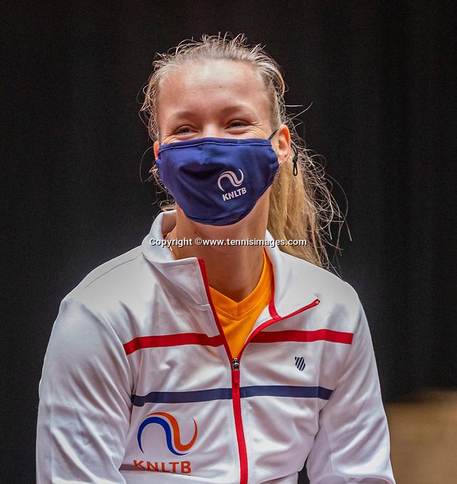 Den Bosch, The Netherlands, April 15, 2021,    Maaspoort, Billy Jean King Cup  Netherlands -  China : Draw ,Kiki Bertens   (NED)<br /> Photo: Tennisimages/Henk Koster