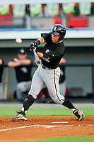 Drew Lee #1 of the Bristol White Sox makes contact with the baseball against the Burlington Royals at Burlington Athletic Stadium August 13, 2010, in Burlington, North Carolina.  Photo by Brian Westerholt / Four Seam Images