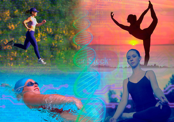 metaphoric composite photo illustration with icons of health including female figures in yoga poses, swimming, running, jogging, exercising