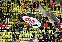 26th May 2021; STADION GDANSK  GDANSK, POLAND; UEFA EUROPA LEAGUE FINAL, Villarreal CF versus Manchester United: The Manchester United crowd unfurls a banner aimed at the Glazer family
