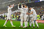Players celebrate goal during UEFA Champions League match between Real Madrid and Paris Saint-Germain FC at Santiago Bernabeu Stadium in Madrid, Spain. November 26, 2019. (ALTERPHOTOS/A. Perez Meca)