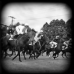 A horse race starts in Karlovy Vary for the annual film festival, Prague, Czech Republic.