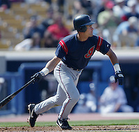 Omar Vizquel of the Cleveland Indians bats during a 2002 MLB season game against the Los Angeles Dodgers at Dodger Stadium, in Los Angeles, California. (Larry Goren/Four Seam Images)